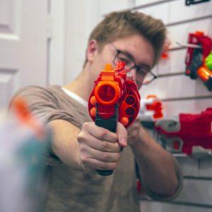 aaron newman shooting nerf gun