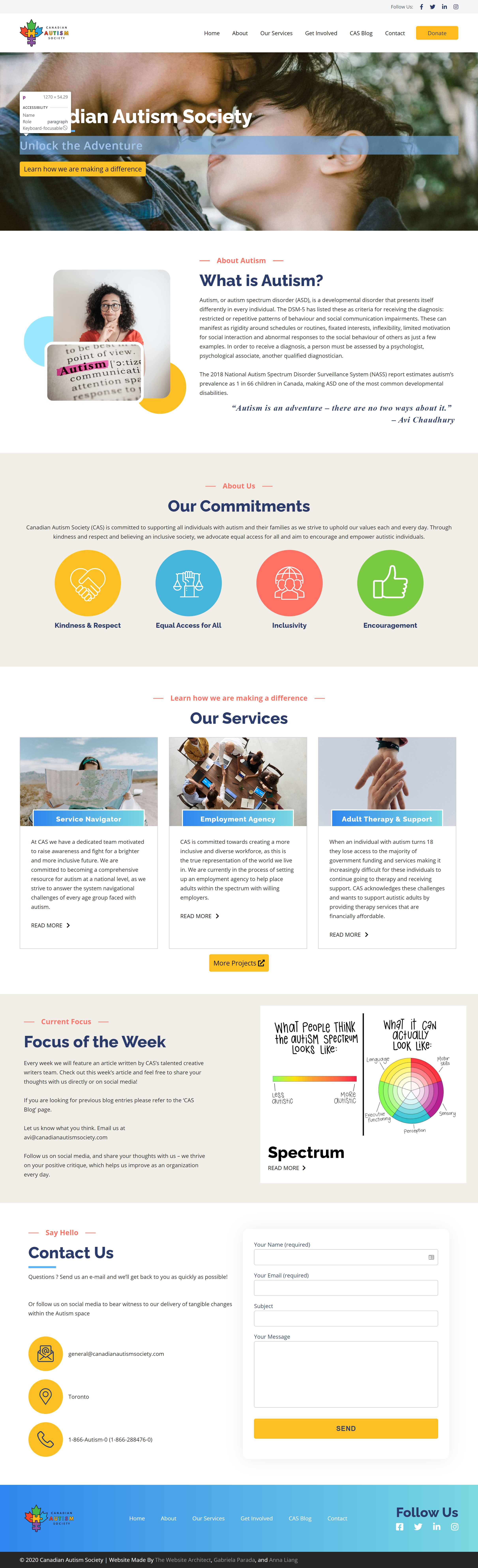 Canadian autism society wordpress website screenshot
